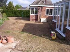 Natural Indian sandstone paving - before
