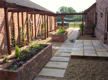 Brick built raised beds and timber garden structures